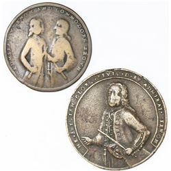 Lot of two Great Britain copper alloy Admiral Vernon medals, 1739, Porto Bello.