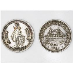 Lot of two Callao, Peru, silver medals of 1862 and 1863 (Independence commemoratives).