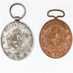 Lot of two Uruguay oval military medals (one in silver and one in copper), Triple Alliance War, 1865