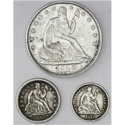 Lot of three USA (Philadelphia mint) silver minors: 50c 1858, 10c 1853 with arrows, 5c 1873.