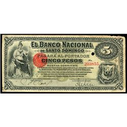 Santo Domingo, Dominican Republic, Banco Nacional, 5 pesos, no date (1889), series E, serial 203855.