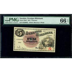 Sweden, Sveriges Riksbank, 5 kronor, 1951, serial H. 320092, PMG Gem UNC 66 EPQ.