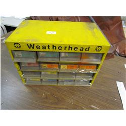 "METAL CABINET (12 DRAWERS) *W/BRASS PCS & WEATHER HEAD* (16""X9""X13"")"