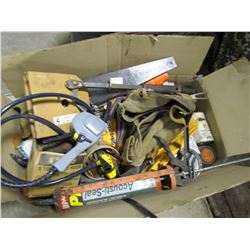 LOT OF TRANSFER PUMP, SAW, NAIL PULLER, WORK POUCH, ETC