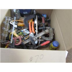 LOT OF C-CLAMPS, CUT OFF BLADE, CLEVISES, MISC. TOOLS