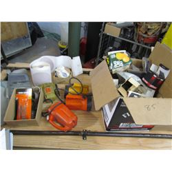 LOT OF FLASHLITE, JIG SAW, CLAMPS, ROLL OF SANDPAPER, ETC