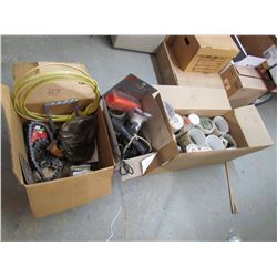 LOT OF ROLLER CHAIN, SCREWS, NAILS, AIR HOSE, LITES, ETC