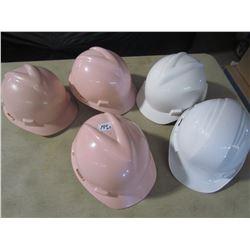 LOT OF HARD HATS (3 PINK, 2 WHITE) *QTY 5*