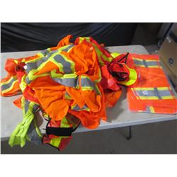 LOT OF SAFETY VESTS (10 USED, 1 NEW)