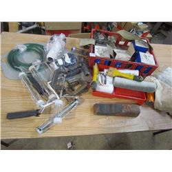 LOT OF PAINTING ACCESSORIES, C-CLAMPS, STAPLES, ETC
