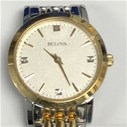 31) BULOVA 2 TONED DIAMOND WATCH