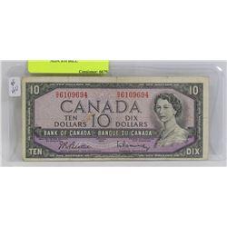1954 CANADA $10 BILL
