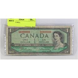 1954 CANADIAN DEVILS FACE $1  BILL.