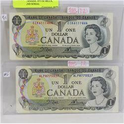 LOT OF 2 CANADA 1973 $1 BILLS, POKER HAND SERIAL