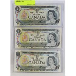 LOT OF 3 CANADIAN 1973  $1 BILLS.