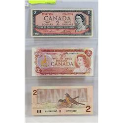 LOT OF 3 CANADA $2 BILLS, 1954, 1974, 1986