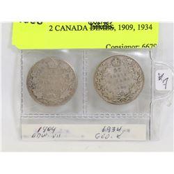 LOT OF 2 CANADA QUARTERS, 1909, 1934