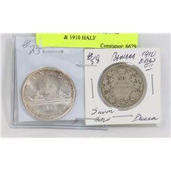 LOT OF 2 CANADA COINS, 1962 DOLLAR & 1910 HALF