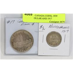 LOT OF 2 CANADA COINS, 1939 SILVER DOLLAR AND 1917