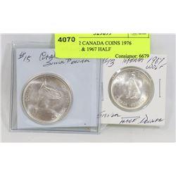 LOT OF 2 CANADA COINS 1976 DOLLAR & 1967 HALF