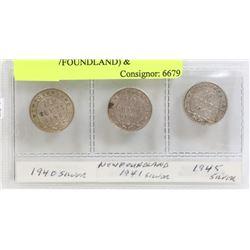 LOT OF 3 CANADA DIMES 1940, 1941(NEWFOUNDLAND) &