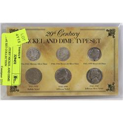 20TH CENTURY NICKEL AND DIME TYPE SET COLLECTION