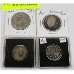 LOT 0F 4 ASSORTED WORLD COINS