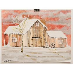 """SNOWEY BARN"" BY WILLIAM VERDULT"
