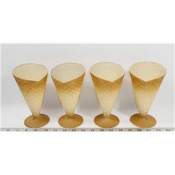 FLAT OF 4 GLASS ICE CREAM CUPS