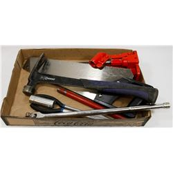 "ESTATE TOOL LOT INCLUDES SAW, JACK, 1/2"" DRIVE,"