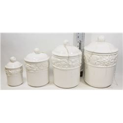 4 PIECE WHITE BELIZE CANISTER SET WITH BAKEWARE.