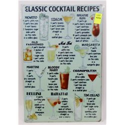 """NEW 12"""" X 8"""" CLASSIC COCKTAIL RECIPES METAL SIGN"""