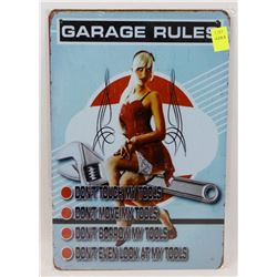 """NEW 12"""" X 8"""" GARAGE RULES METAL SIGN"""