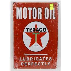 "NEW 12"" X 8"" TEXACO MOTOR OIL METAL SIGN"