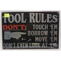 """NEW 12"""" X 8"""" TOOL RULES METAL SIGN"""