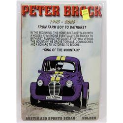 """NEW 12"""" X 8"""" PETER BROCK RACING METAL SIGN"""
