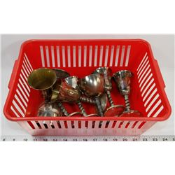 BASKET OF  SILVER PLATE GOBLETS