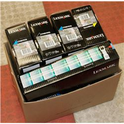 LOT OF 5 LEXMARK HIGH YIELD TONER, ASSORTED COLORS