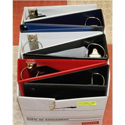 BOX OF 7 ASSORTED SIZE BINDERS