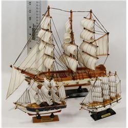 SET OF 3 VINTAGE SHIPS