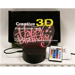 NEW 3D VISUAL RGB NIGHT LIGHT WITH REMOTE