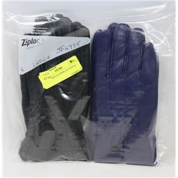 2PK LADIES LEATHER GLOVES SZ LARGE