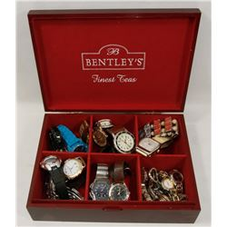 BOX FILLED WITH VARIOUS FASHION WATCHES