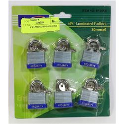 PACK OF 6 LAMINATED PADLOCKS