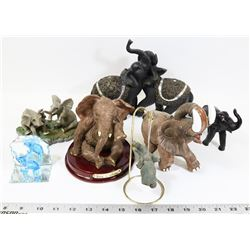BOX OF VARIOUS ELEPHANT FIGURES