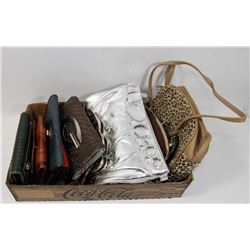 BOX OF WALLETS & SMALL HANDBAGS