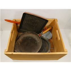 WOODEN CRATE CAST IRON PANS