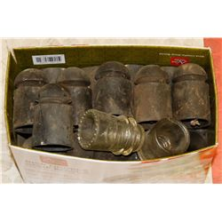 BOX OF ANTIQUE BLACK AND GLASS INSULATORS