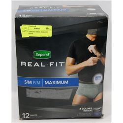 BOX OF DEPEND MENS REAL FIT SM/M BRIEFS.