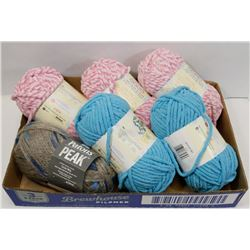 FLAT OF MOSTLY BERNAT YARN